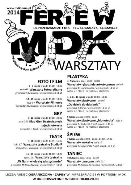 FERIE 2014 WARSZTATY