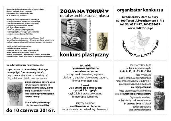 konkurs plastyczny ZOOM NA TORUN IV 2016 PLAKATOREGULAMIN